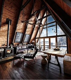 Tiny House Cabin, Cabin Homes, Cabin Design, House Design, Snow Cabin, A Frame House Plans, Cabins And Cottages, House In The Woods, House Styles