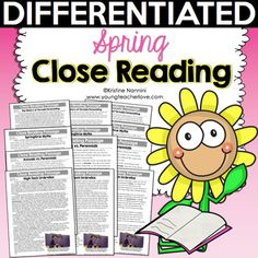 Spring Close Reading Passages, Text-Dependent Questions & More- Young Teacher Love by Kristine Nannini Reading Resources, Reading Strategies, Reading Activities, Reading Skills, What Is Close Reading, Text Dependent Questions, Reading Comprehension Passages, Student Reading, Guided Reading