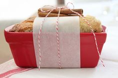 Lifestyle blogger Julie Blanner suggests stocking up on colorful miniature ceramic loaf pans when they are on sale at your local discount store. They are perfect for gift-giving, and your standard bread recipe will yield about six sweet mini loaves at once. Cinnamon is synonymous with the holiday season. For Julie's Easy Cinnamon Bread recipe, click here.