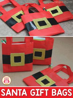Learn how to make a simple Christmas gift bags or winter themed gift bags for kids. Sometimes the perfect gift bag will make a simple gift seem extra special. Use these Santa gift bags for student gifts or for Christmas or holiday party favors.