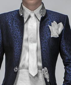Groom Suits ONGala 2013 Barocco Collection onlynot in blue like green with black shirt and green or black tie.