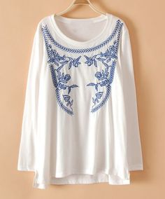 White Long Sleeve Tribal Embroidery Loose T-shirt pictures