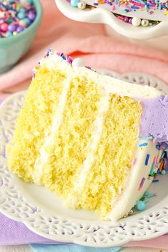 This moist Vanilla Layer Cake recipe is just what you've been looking for! S… This moist Vanilla Layer Cake recipe is just what you've been looking for! Soft vanilla cake covered with homemade frosting. It's delicious & easy to make! Perfect Vanilla Cake Recipe, Vanilla Cake From Scratch, Vegan Vanilla Cake, Moist Vanilla Cake, Vanilla Recipes, Three Layer Vanilla Cake Recipe, Vanilla Butter Cake Recipe, Strawberry Vanilla Cake, Blueberry Cake