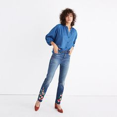 We updated our signature slim boyfriend fit with a higher rise (think a vintage men's jean cut to flatter you). The result? A cool new pair that beautifully blurs the weekend/weekday line. Inspired by '60s festival styles, this special edition is artfully embroidered for a DIY vibe (check out the solo flower on the back pocket). <ul><li>Monogramming available for US customers: To have this item embroidered with up to nine letters for $10 (free for Madewell Insiders),...