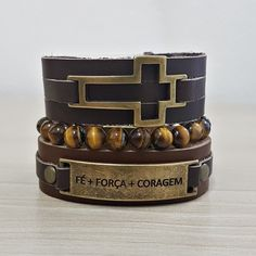 Kit 3 Pulseiras Masculinas Couro Cruz Fe+força+coragem Pedras mens bracelets fashion style cocar brasil
