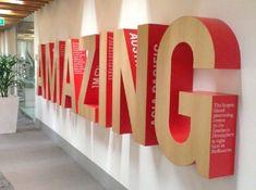 Best Innovative and Creative Environmental Design Ideas - Dekoration Verden Office Signage, Office Branding, Wayfinding Signage, Signage Design, Environmental Graphic Design, Environmental Graphics, Office Graphics, Best Office, Giant Letters