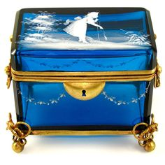 Antique Mary Gregory Blue Glass Hand Painted White Enamel Jewelry Box Casket