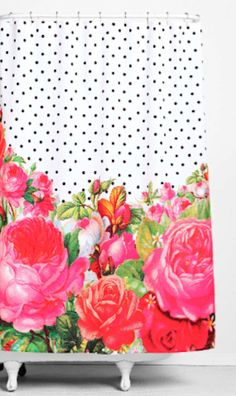 love this pop of color shower curtain