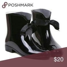 Selling this Black bow rainboots on Poshmark! My username is: mcfly85. #shopmycloset #poshmark #fashion #shopping #style #forsale #Shoes