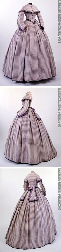 """Dress, 1862-64. McCord Museum: """"This dress shows the very full elliptical skirt shape typical of the early 1860s. Such a voluminous skirt comprises many widths of fabric, with longer lengths in the back to accommodate the fuller part of the hoop crinoline. In this skirt, strategically placed deep knife and box pleats serve to create a relatively flat waistband without any volume that might compromise the appearance of a slender waistline."""""""