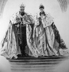 Nicholas and Alexandra at their coronation. He had 7 palaces and 16, 000 servants.