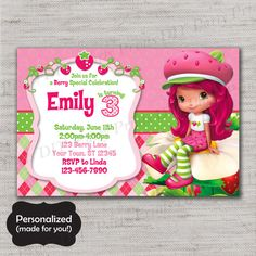 Strawberry Shortcake Birthday invite,ShoppingStrawberry Shortcake invite,JPG file,Invite,Birthday Invite,Strawberry Shortcake,DPP85