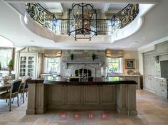 2 story kitchen in a custom home in Canada.