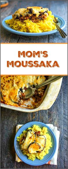 My mom's moussaka is a family favorite for we love the cinnamon spiced meat sauce and eggplant topped with creamy cheese sauce. Tastes great over rice. #SundaySupper