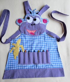 Kids Apron - DORA Craft Apron, Cooking Apron, Garden Apron - Fully Lined - Made to Order - Sizes from 3/4, 5/6 and 7/8. $30.00, via Etsy.