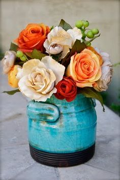 teal vase with burnt orange and cranberry flowers - Google Search