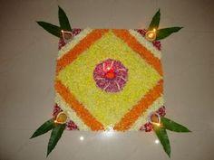 simple flower rangoli designs - Google Search