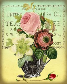 Antique Tea Cups and Roses Digital Collage Sheet by GalleryCat