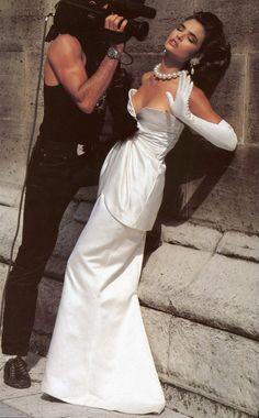 """Video Vedettes"", Vogue France, September 1984Photographer: Albert WatsonModel: Talisa Soto"