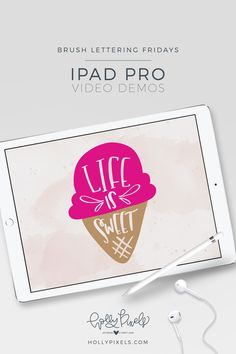 Watch my Procreate brush lettering demo every Friday - Brush Lettering Fridays. This week's quote is: Life is Sweet. Real Time Video! Holly Pixels.