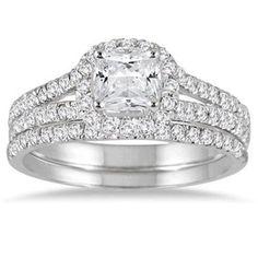 1.75ct Princess Cut D/VVS1 Diamond 14k White Gold Engagement Bridal Ring Set #Jewelsbyeanda
