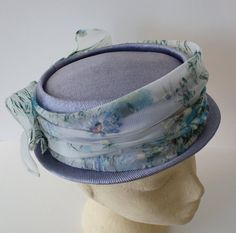 Vintage 1950s Blue PILLBOX Hat With Floral by FoxyBritVintage, $22.95