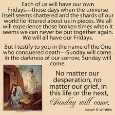 Sunday will come....and Spiritually Speaking: Spiritually Speaking Printable #easter #atonement