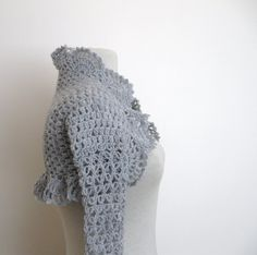 Knitting And Beading Wedding Bridal Accessories and Free pattern: Crochet shrug in light grey / weddings bridal bridesmaids just married bride fashion ceremony party spring summer bolero ready to ship Crochet Headband Free, Crochet Kids Scarf, Crochet Jacket, Knit Crochet, Irish Crochet, Free Crochet, Easy Crochet Patterns, Crochet Patterns Amigurumi, Crochet Ideas
