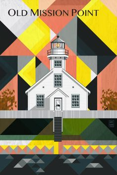 Traverse City Michigan Art Print featuring the digital art Old Mission Point Michigan by Garth Glazier Art Prints Online, Fine Art Prints, Graphic Design Illustration, Illustration Art, Traverse City Michigan, Lighthouse Art, Thing 1, City Art, Abstract Wall Art