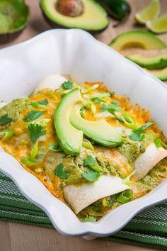 Chicken and Avocado Enchiladas in Creamy Avocado Sauce, Top Notch YUMMY !!