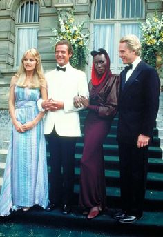 A View to a Kill-Tanya Roberts, Roger Moore, Grace Jones and Christopher Walken in a publicity shot for the film. Roger Moore, Grace Jones, Bond Girls, George Lazenby, Bond Series, Timothy Dalton, James Bond Movies, James Bond Characters, Pierce Brosnan