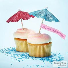 Share an Umbrella: Pretty up a paper parasol to top a sweet treat (or to slip into an envelope).