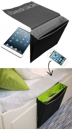 55 Clever Storage Ideas That Will Make You Super Happy (and organized!) Bedside Caddy (keeps your devices charged, too!) -- 55 Genius Storage Inventions That Will Simplify Your Life Bedside Caddy, Bedside Storage, Bed Caddy, Bedside Organizer, Bedside Shelf, Bed Storage, Nightstand, Couture Main, Dorm Room Storage