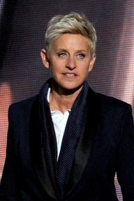 Television personality Ellen DeGeneres speaks onstage during the Annual Primetime Emmy Awards at Nokia Theatre L. Live on September 2012 in Los Angeles, California. Ellen Degeneres Haircut, Ellen Degeneres And Portia, Ellen And Portia, Julia Louis Dreyfus, Care Haircut, The Ellen Show, Ellen Degeneress, Portia De Rossi, Queer Fashion