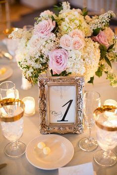 golden-frame-wedding-table-numbers.jpg (682×1024)