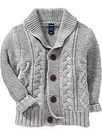 Shawl-Collar Cable-Knit Cardigans for Baby