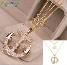 Beautiful Gold-Plated Anchor Necklace Embedded with Swarovski Elements