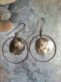 Boho  gypsy beachy silver grey jingle shell on wire hoop earrings, beachy jewelry, beach wedding jewelry, seashell jewelry