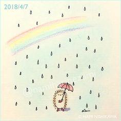 1444 #お天気雨 sun shower #illustration #hedgehog #イラスト #ハリネズミ #なみはりねずみ