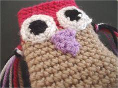Owl crochet phone case