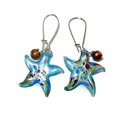 Light Blue Glass Starfish Earrings by CloudNineDesignz on Etsy