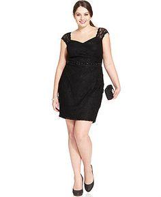 Trixxi Plus Size Cap-Sleeve Lace Cutout Dress - Junior Plus Sizes - Plus Sizes - Macy's