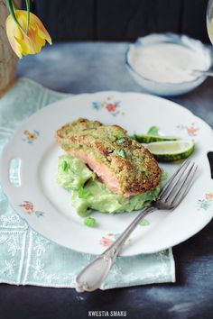 Salmon with pistachio crust on bed of basil mashed potatoes