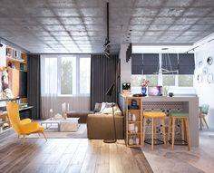 Exemple de décoration d'intérieur pour un studio où le design est relevé par les touches joyeuses en jaune