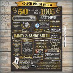 50th Anniversary Gift 1965 Chalkboard Poster by PRINTSbyMAdesign