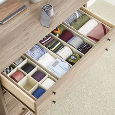 Ideas Closet Drawers Container Store For 2019 Office Drawer Organization, Closet Organizer With Drawers, Closet Drawers, Drawer Dividers, Drawer Organisers, Desk With Drawers, Closet Storage, Dresser Drawers, Closet Inserts