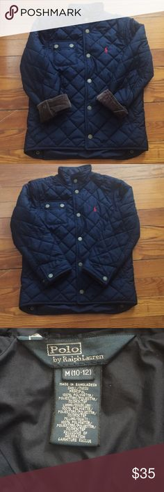 Ralph Lauren boys quilted jacket. Ralph Lauren quilted navy blue jacket with brown corduroy cuffs (you can choose to cuff or not).  Boys medium 10-12 perfect condition and perfect for fall and spring! Ralph Lauren Jackets & Coats