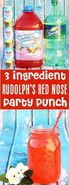 Christmas Punch Drink Party Recipes for Kids! This Rudolph Easy Nose Red Berry Punch will disappear as fast as possible! Kids and adults go crazy for this! Only 3 ingredients … Christmas Punch, Christmas Drinks, Holiday Drinks, Kids Christmas, Christmas Recipes, Christmas Bounty, Christmas Pictures, Christmas Desserts, Holiday Recipes