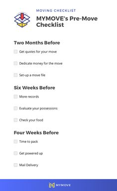 There's much to do before a move. Break it down using MYMOVE's pre-move checklist. Moving Costs, Moving Day, Moving Tips, Moving Checklist, Organizing, Organization, Got Quotes, 2 Months, Next At Home