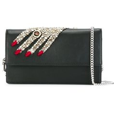 Alexander McQueen embellished hand clutch ($1,395) ❤ liked on Polyvore featuring bags, handbags, clutches, black, purses, chain handle handbags, embellished handbags, chain strap handbag, embellished purses and man bag